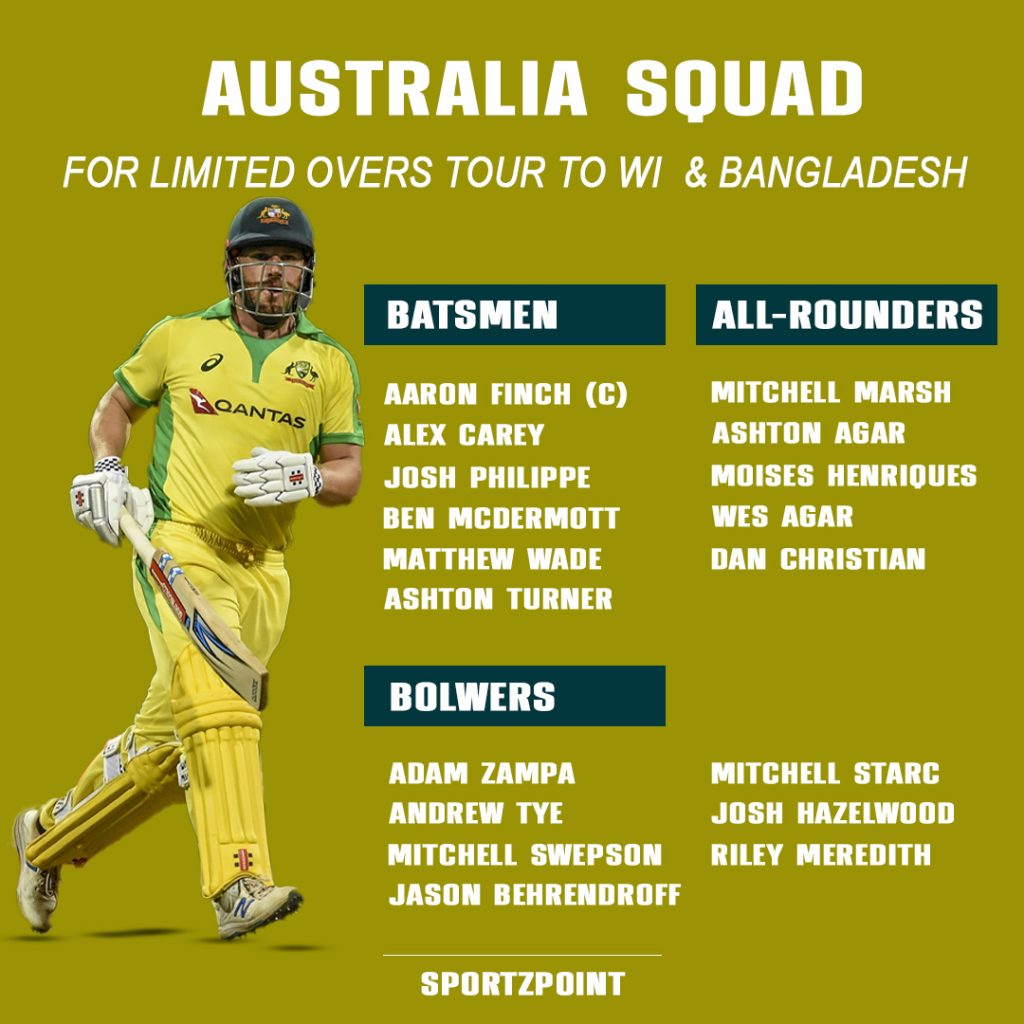 Australia named the squad for WI & Bangladesh Tour; No Smith, Warner and Maxwell | SportzPoint