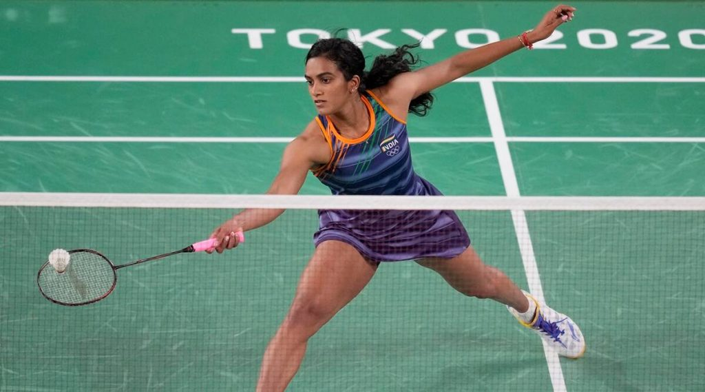 P.V Sindhu in actin at Olympic 2020